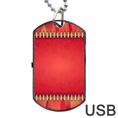 Background Red Abstract Dog Tag Usb Flash (one Side)