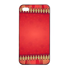 Background Red Abstract Apple Iphone 4/4s Seamless Case (black)