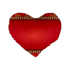 Background Red Abstract Standard 16  Premium Heart Shape Cushions