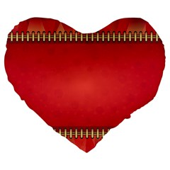 Background Red Abstract Large 19  Premium Flano Heart Shape Cushions
