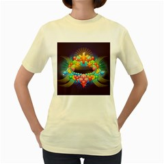 Badge Abstract Abstract Design Women s Yellow T Shirt