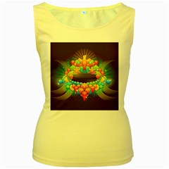 Badge Abstract Abstract Design Women s Yellow Tank Top