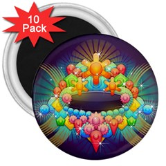 Badge Abstract Abstract Design 3  Magnets (10 Pack)