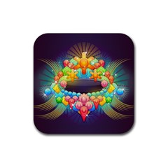 Badge Abstract Abstract Design Rubber Coaster (square)