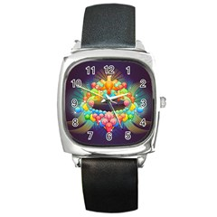 Badge Abstract Abstract Design Square Metal Watch