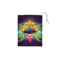 Badge Abstract Abstract Design Drawstring Pouches (xs)