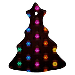 Lanterns Background Lamps Light Christmas Tree Ornament (two Sides)