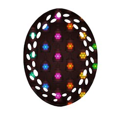 Lanterns Background Lamps Light Ornament (oval Filigree)