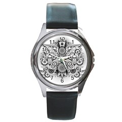 Forest Patrol Tribal Abstract Round Metal Watch