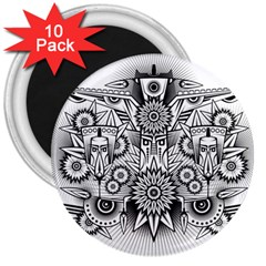 Forest Patrol Tribal Abstract 3  Magnets (10 Pack)