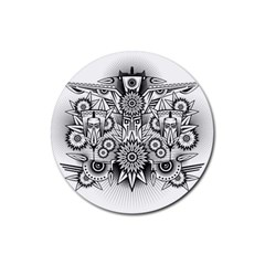 Forest Patrol Tribal Abstract Rubber Coaster (round)