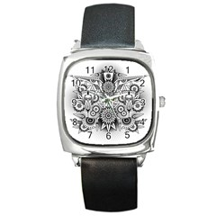 Forest Patrol Tribal Abstract Square Metal Watch