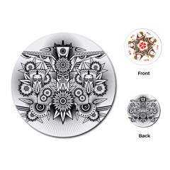 Forest Patrol Tribal Abstract Playing Cards (round)