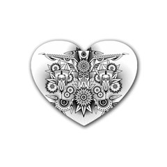 Forest Patrol Tribal Abstract Rubber Coaster (heart)