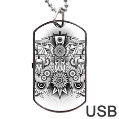 Forest Patrol Tribal Abstract Dog Tag Usb Flash (two Sides)
