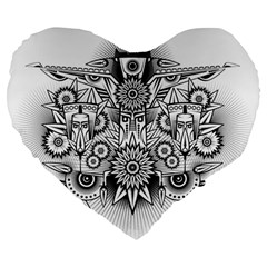 Forest Patrol Tribal Abstract Large 19  Premium Flano Heart Shape Cushions