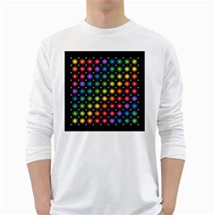 Background Colorful Geometric White Long Sleeve T Shirts