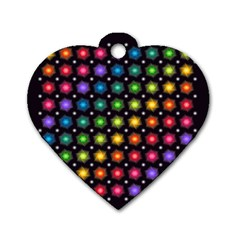 Background Colorful Geometric Dog Tag Heart (two Sides)