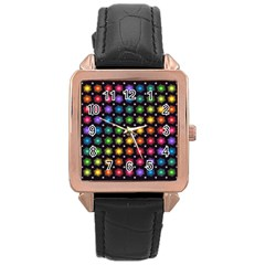 Background Colorful Geometric Rose Gold Leather Watch