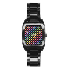 Background Colorful Geometric Stainless Steel Barrel Watch