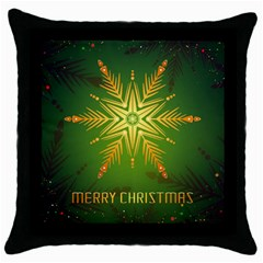Christmas Snowflake Card E Card Throw Pillow Case (black)