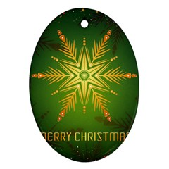 Christmas Snowflake Card E Card Oval Ornament (two Sides)