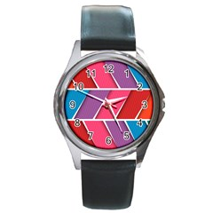 Abstract Background Colorful Round Metal Watch