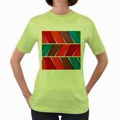 Abstract Background Colorful Women s Green T Shirt