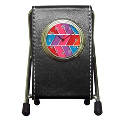 Abstract Background Colorful Pen Holder Desk Clocks