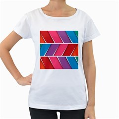 Abstract Background Colorful Women s Loose Fit T Shirt (white)