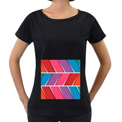 Abstract Background Colorful Women s Loose Fit T Shirt (black)