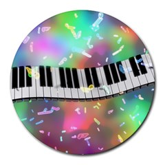 Piano Keys Music Colorful 3d Round Mousepads