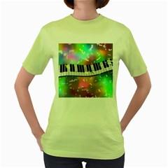 Piano Keys Music Colorful 3d Women s Green T Shirt