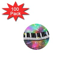 Piano Keys Music Colorful 3d 1  Mini Buttons (100 Pack)
