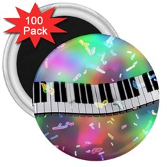 Piano Keys Music Colorful 3d 3  Magnets (100 Pack)