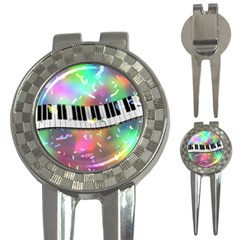 Piano Keys Music Colorful 3d 3 In 1 Golf Divots