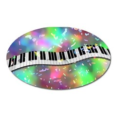 Piano Keys Music Colorful 3d Oval Magnet