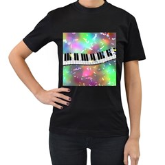 Piano Keys Music Colorful 3d Women s T Shirt (black) (two Sided)