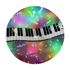 Piano Keys Music Colorful 3d Round Ornament (two Sides)