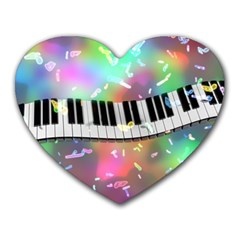 Piano Keys Music Colorful 3d Heart Mousepads