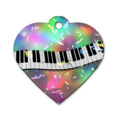 Piano Keys Music Colorful 3d Dog Tag Heart (one Side)