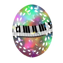 Piano Keys Music Colorful 3d Ornament (oval Filigree)