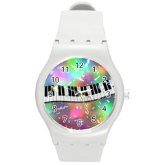 Piano Keys Music Colorful 3d Round Plastic Sport Watch (m)