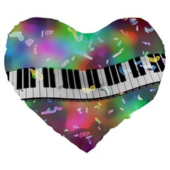 Piano Keys Music Colorful 3d Large 19  Premium Heart Shape Cushions