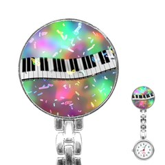 Piano Keys Music Colorful 3d Stainless Steel Nurses Watch