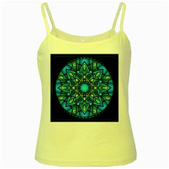 Mandala Blue Abstract Circle Yellow Spaghetti Tank