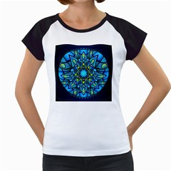 Mandala Blue Abstract Circle Women s Cap Sleeve T