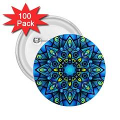 Mandala Blue Abstract Circle 2 25  Buttons (100 Pack)