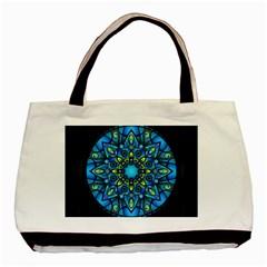 Mandala Blue Abstract Circle Basic Tote Bag