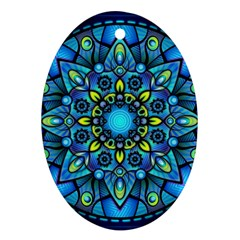 Mandala Blue Abstract Circle Oval Ornament (two Sides)